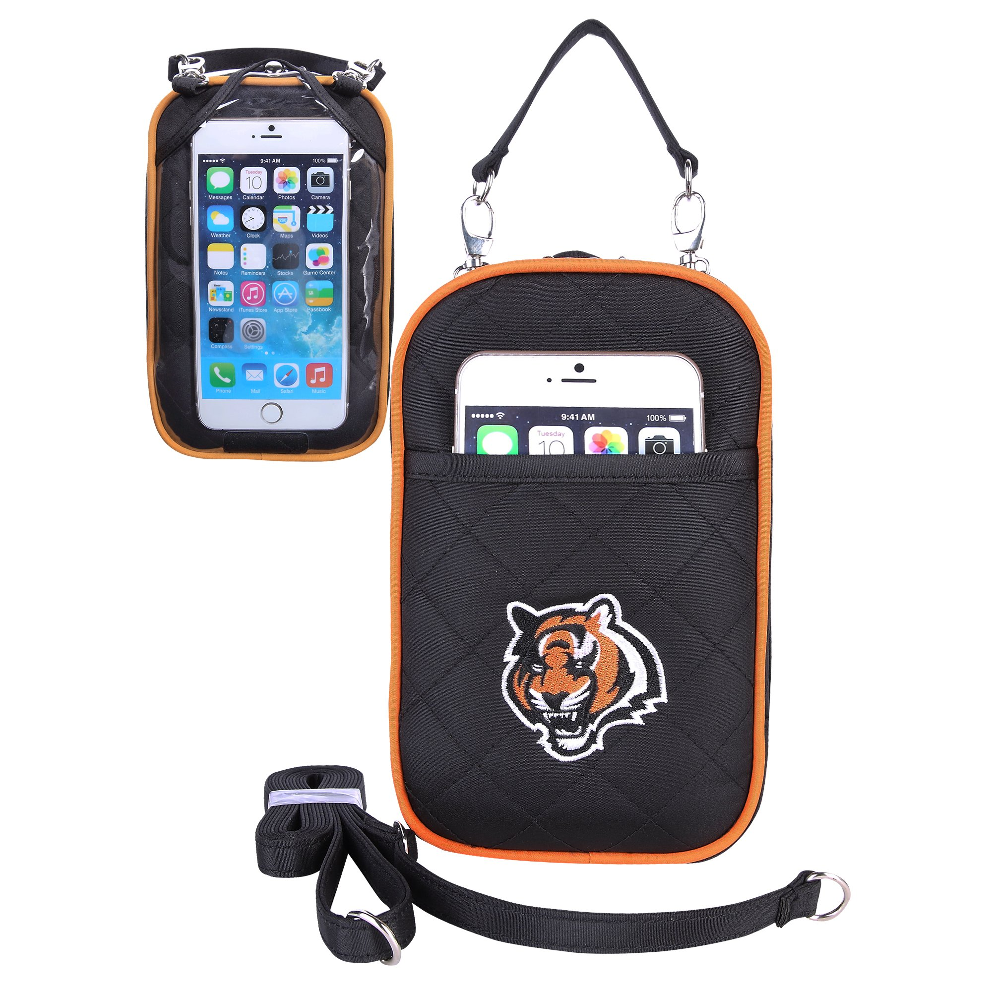 Charm14 NFL Cincinnati Bengals Women's Crossbody Bag Quilt-Embroidered Logo-Fits All Phones by Little Earth