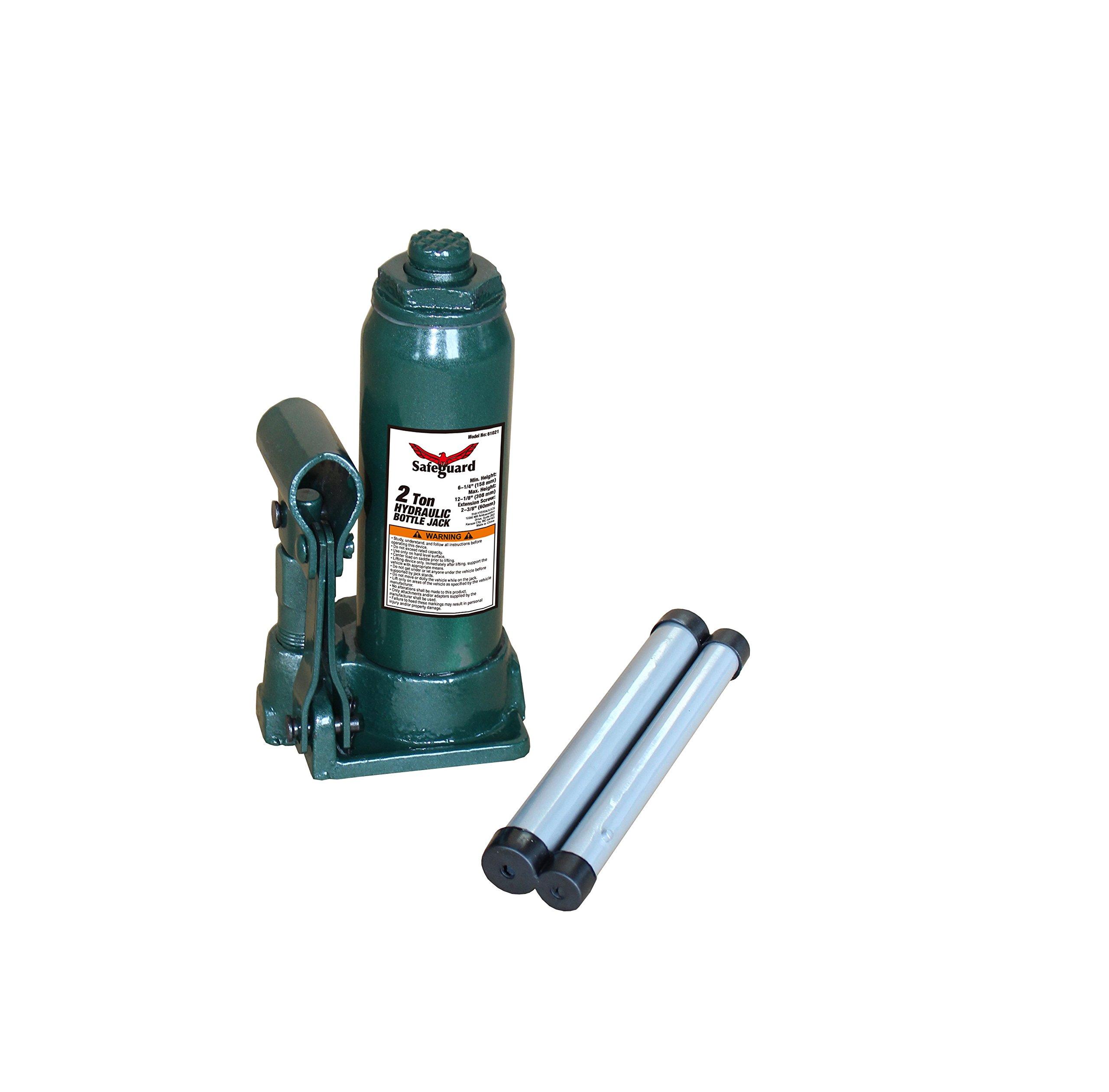 61021 2 Ton Casted Bottle Jack, Green