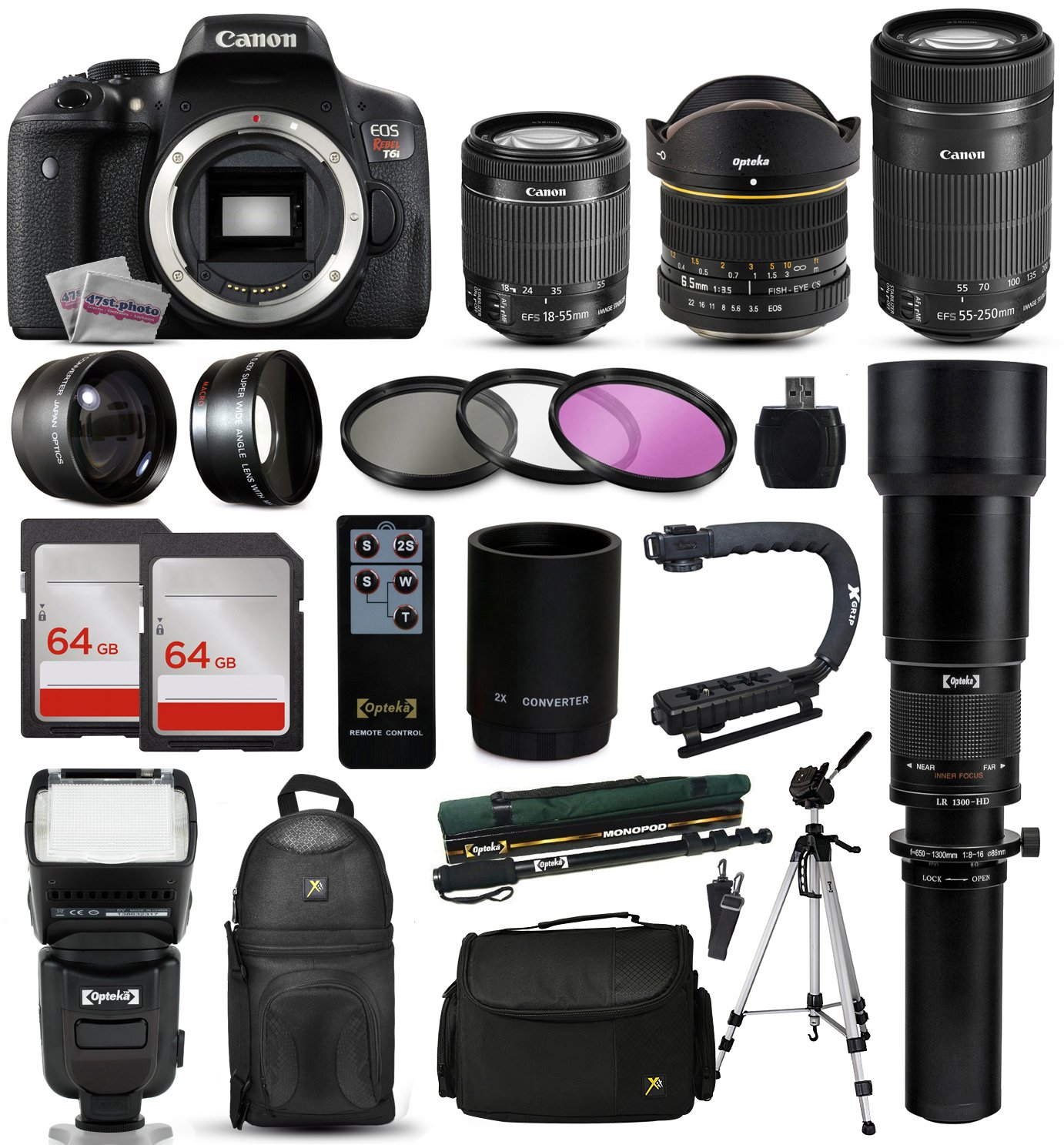 Canon EOS Rebel T6i Digital SLR Camera with EF-S 18-55mm, 55-250mm, Opteka 650-1300mm Lens, 2x 64GB SD Card, 72' Monopod, 2.2x Telephoto Lens, Sling Backpack, 10pcs Cleaning Kit and Accessory Bundle 72 Monopod 47th Street Photo CNT6I185565552506501300