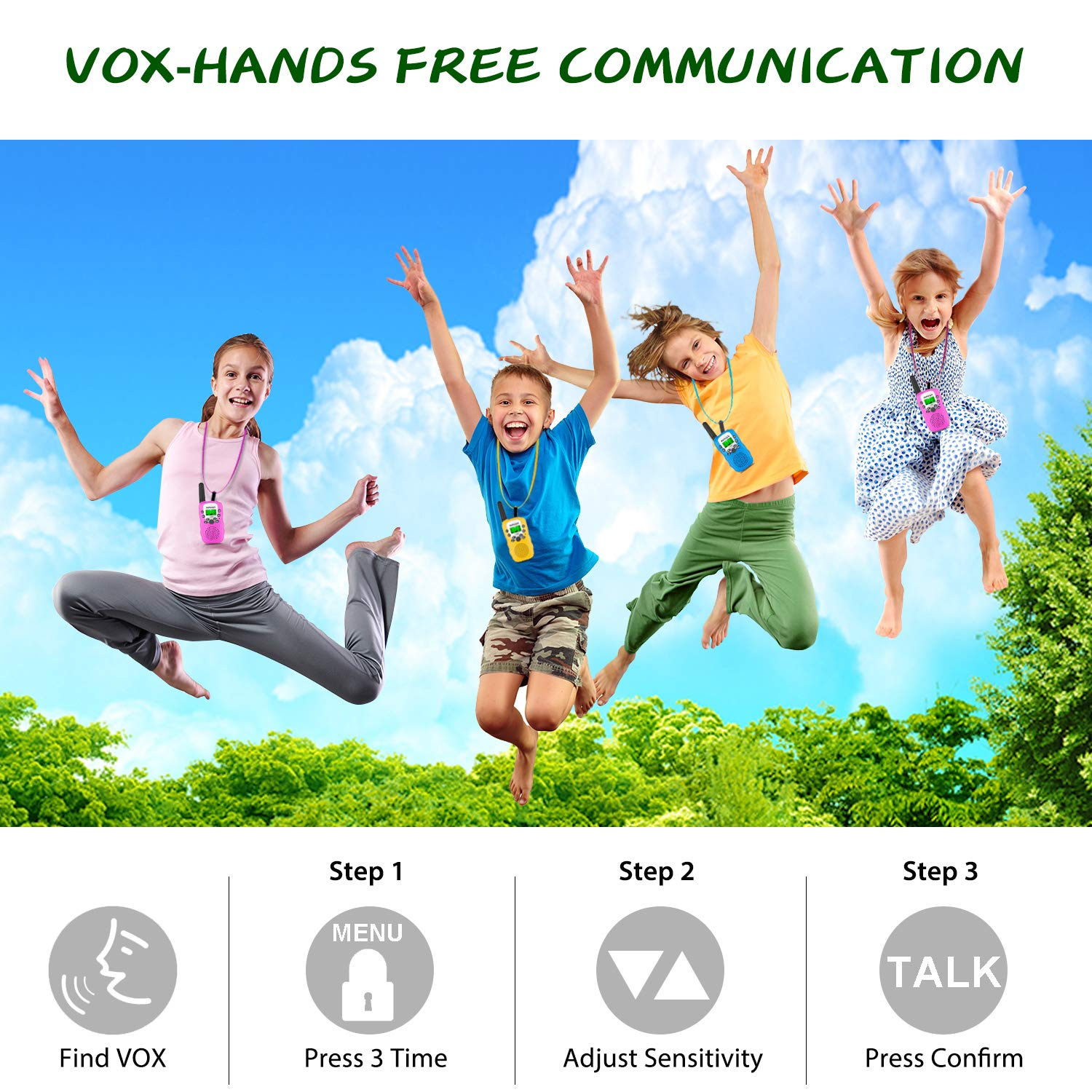 Inpher 3 Pack Walkie Talkies Bonus Kids Temporary Tattoos, 22 Channels 2 Way Radio Toy with Backlit LCD Flashlight, 3 Miles Range for Kids, Outdoor Adventures, Camping, Hiking by Inpher (Image #4)