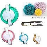 Pompom Maker Kit – 4 Sizes Pom Pom Making Tool Set with Small Scissors, Easy Way to Make pompoms