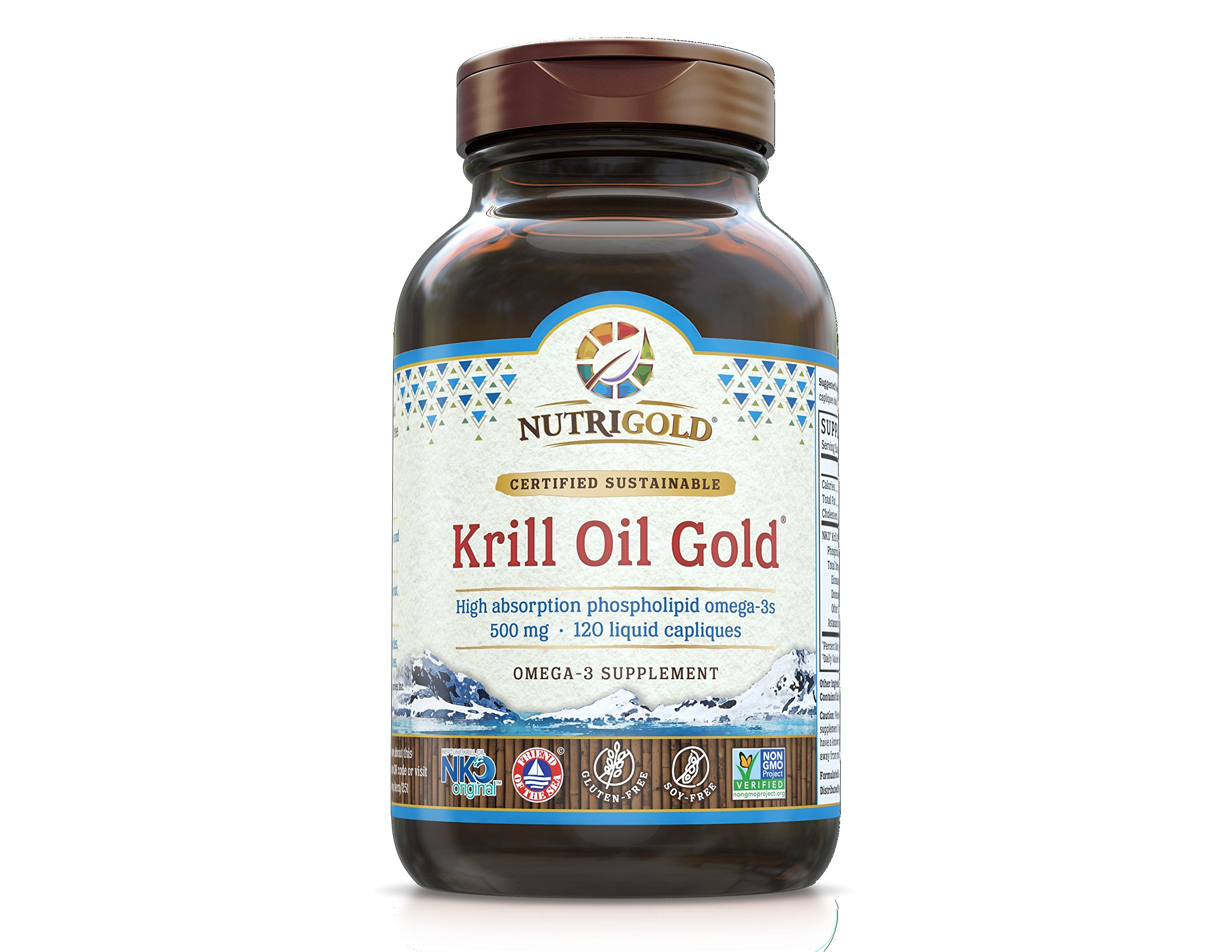 NutriGold Krill Oil Gold, 500 mg, 120 Liquid Capliques