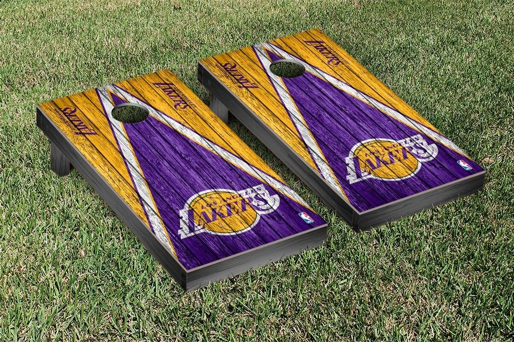 Los Angeles LA Lakers NBA Basketball Regulation Cornhole Game Set Triangle Weathered Version