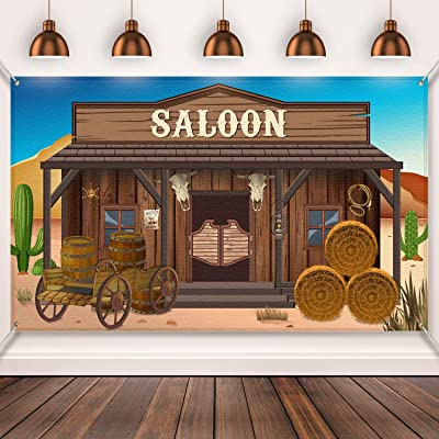 Western Party Supplies, Large Fabric Saloon Yeehaw Western Scene Setters for Western Themed , Wooden House Barn Banner Cowboy Decoration Photo Booth Backdrop Background (Saloon): Toys & Games
