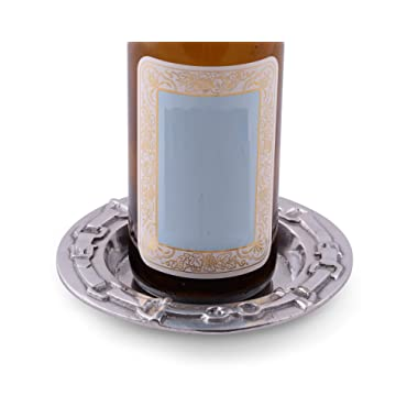 Arthur Court Designs Aluminum 6  diameter Equestrian Bit Wine Coaster