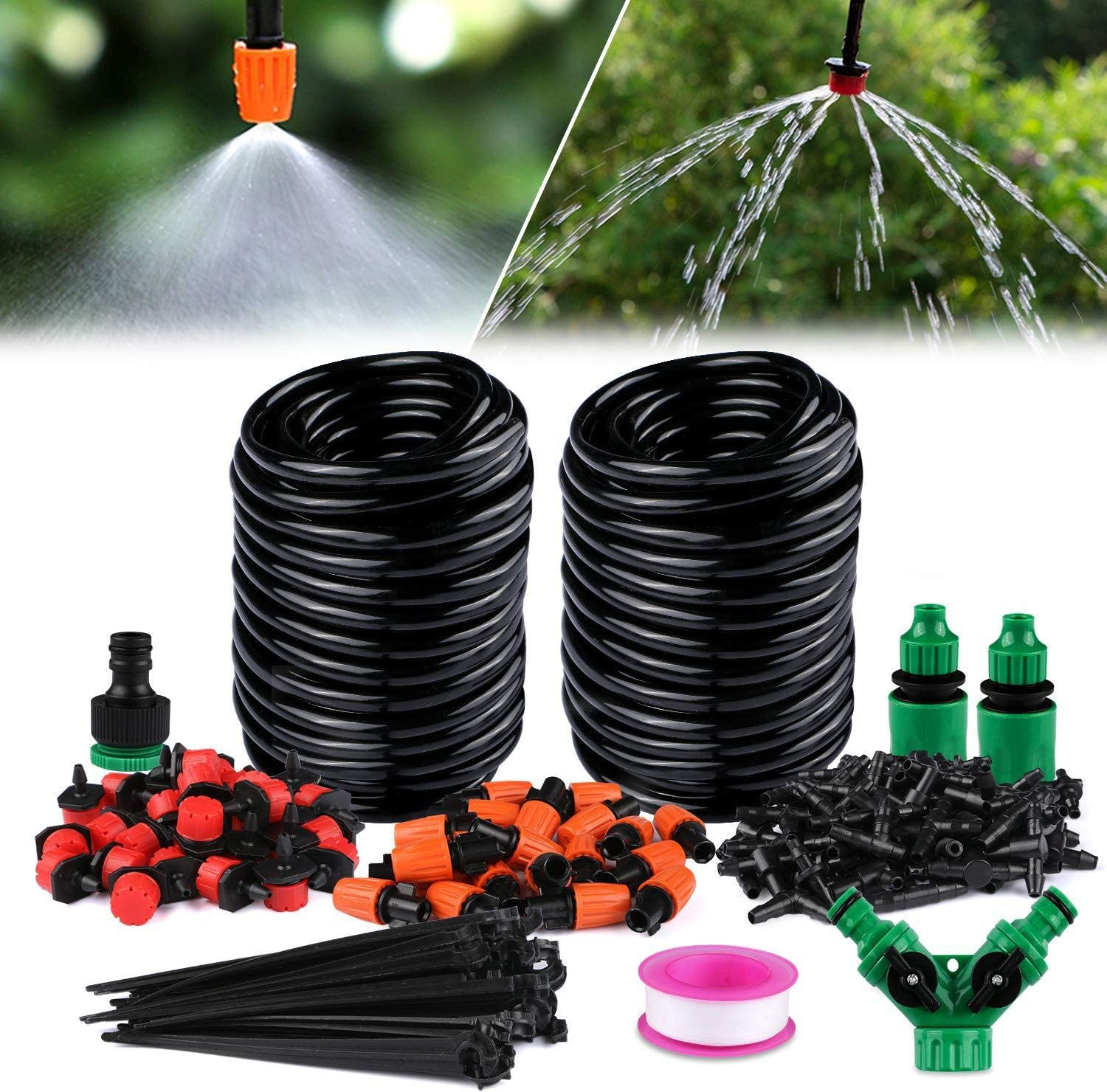 LINEX Drip Irrigation Kit System Automatic Watering Equipment Tubing Hose for Garden 100 ft