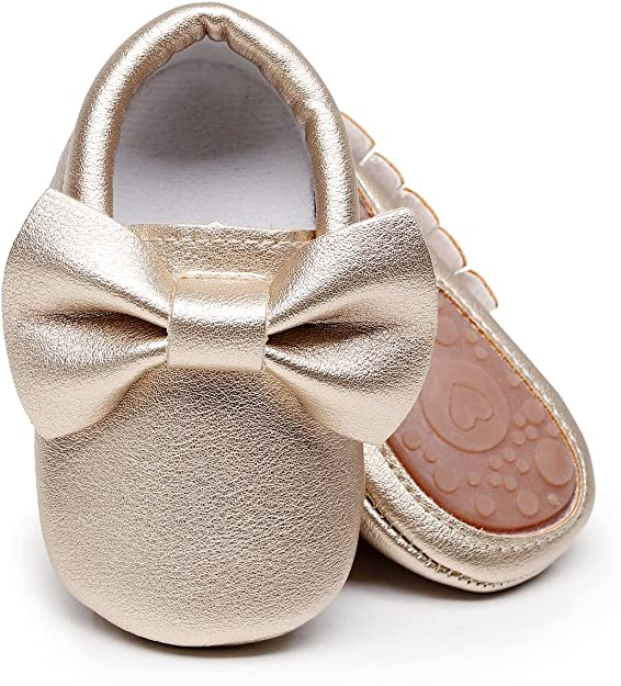 HONGTEYA Baby Moccasins with Rubber Sole & Soft Sole - Flower Print PU Leather Tassel Bow Girls Ballet Dress Shoes for Toddler