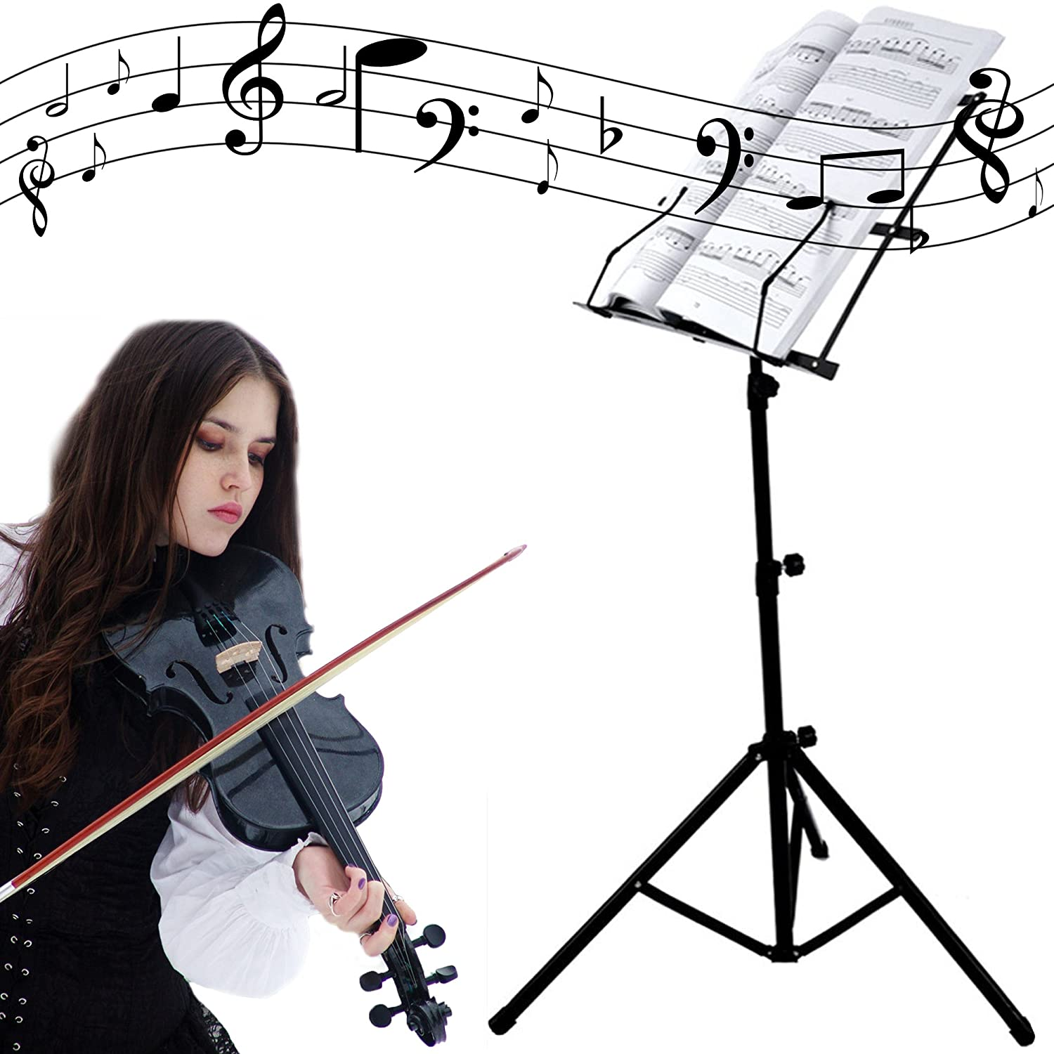 black folding music conductor stand sheet book tripod