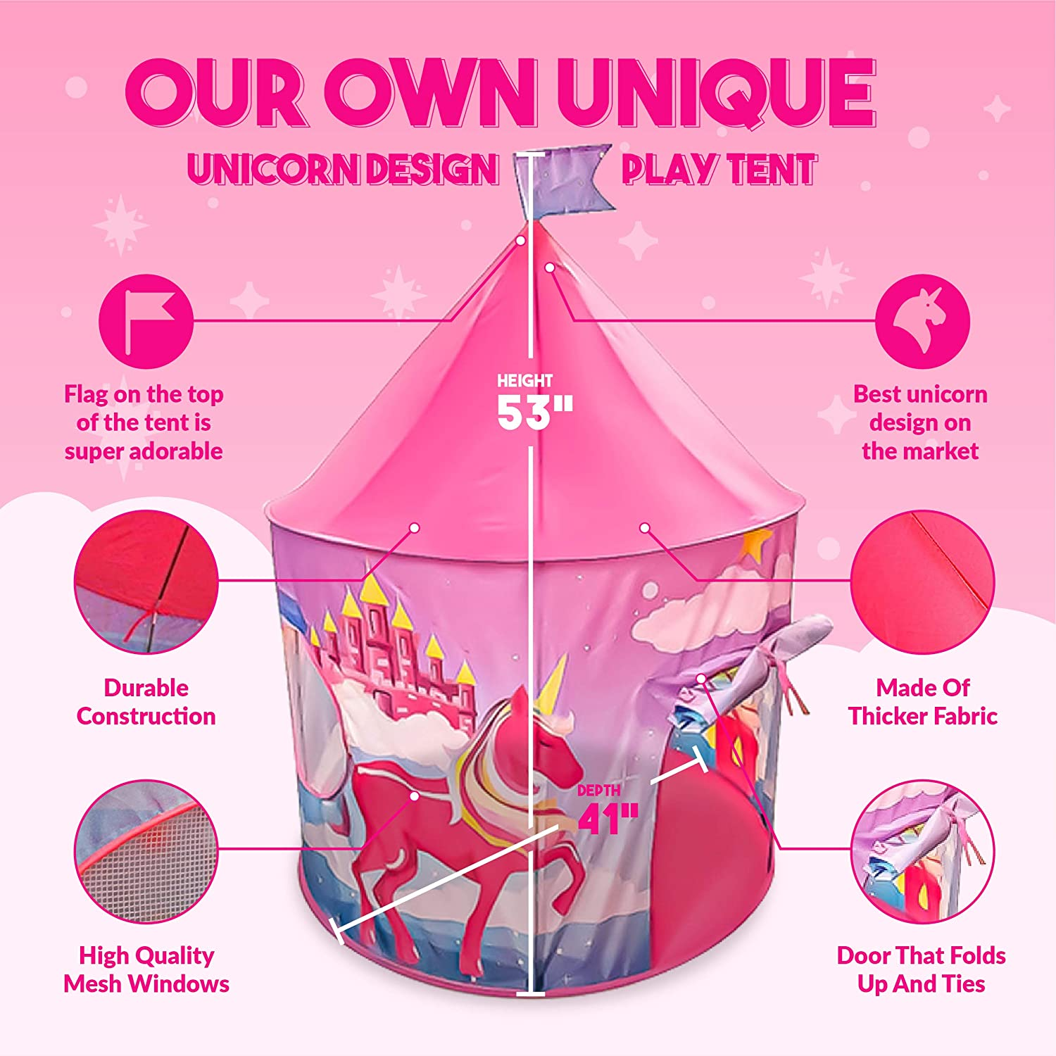 Indoor and Outdoor Playset Decorations for Parties Fantasy Pretend Unicorn Castle for Princesses Compact Pink Playhouse Prince Camping Box Queen LEVIANI Foldable Kids Play Tent