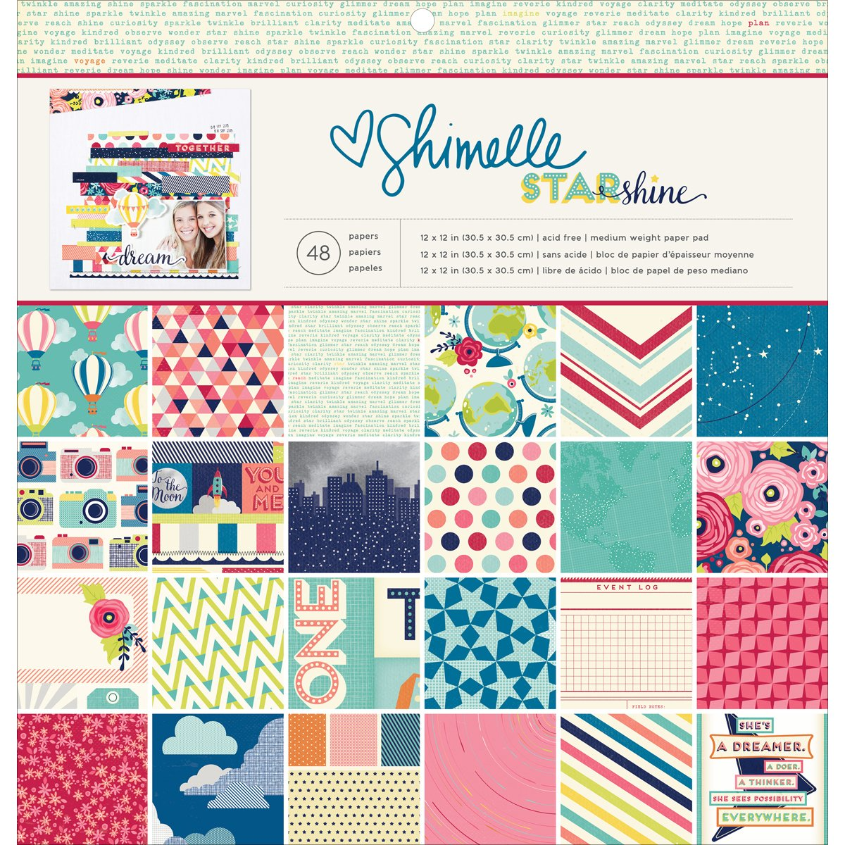 American Crafts Starshine Collection 12 X 12 Paper Pad (12 Pack)