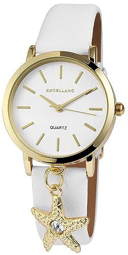 92d1c4c3b1c4 Estrella de Oro blanco reloj analógico para mujer piel Reloj de pulsera   Amazon.es  Relojes