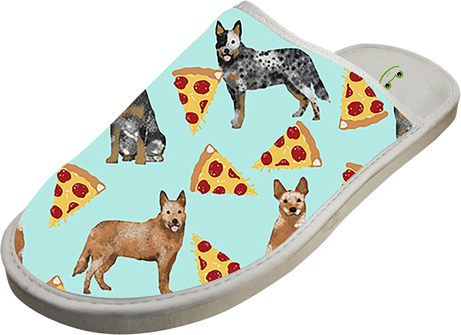 KOUY Puppy And Pizza Closed Toe Cotton Slippers Warm Soft Indoor Shoes Non-watertight