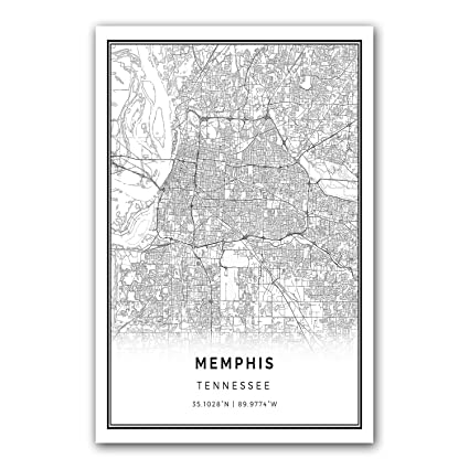 Memphis map poster print modern black and white wall art scandinavian home decor