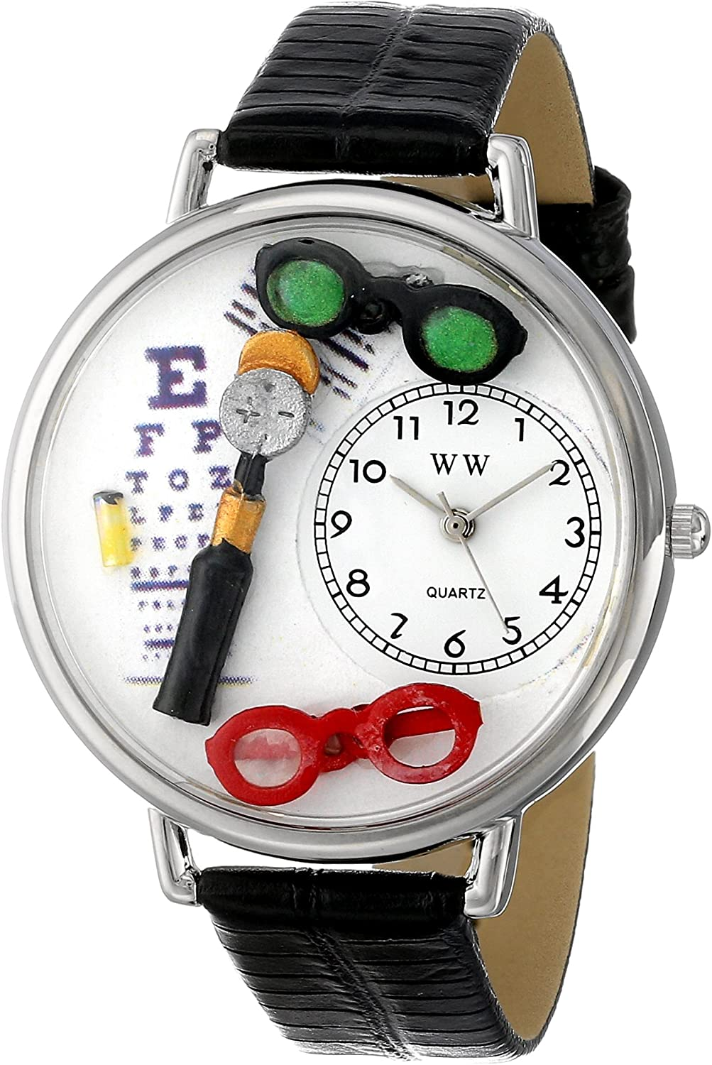 Whimsical Watches Unisex U0620003 Ophthalmologist Black Skin Leather Watch