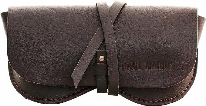 PAUL MARIUS ESTUCHE PARA GAFAS en cuero marrón oscuro, adecuado para todos los formatos Vintage & Retro: Amazon.es: Ropa y accesorios