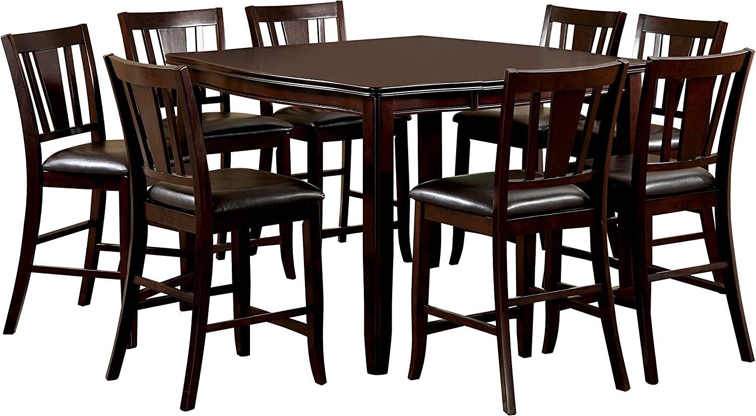 Furniture of America Frederick 9-Piece Square Counter Height Table Set with 16-Inch Expandable Leaf, Espresso Finish