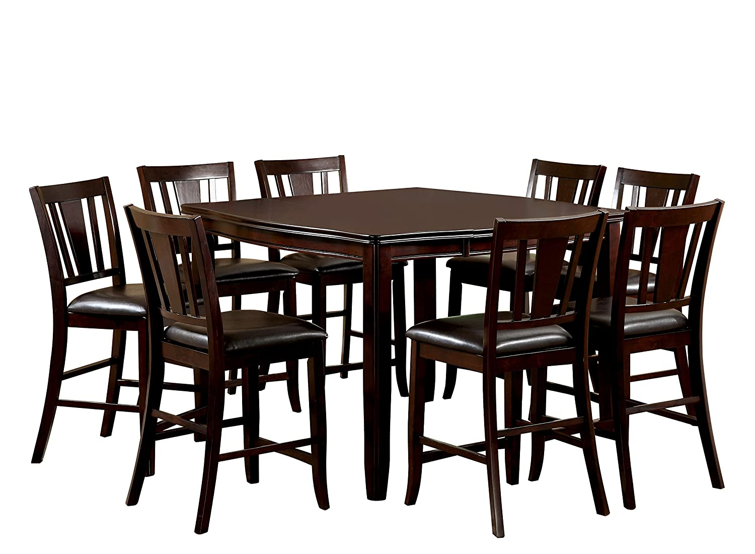 Furniture of america frederick 9 piece square counter for Kitchen set 008 26