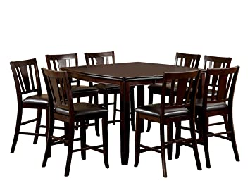 Incredible Furniture Of America Frederick 9 Piece Square Counter Height Table Set With 16 Inch Expandable Leaf Espresso Finish Customarchery Wood Chair Design Ideas Customarcherynet