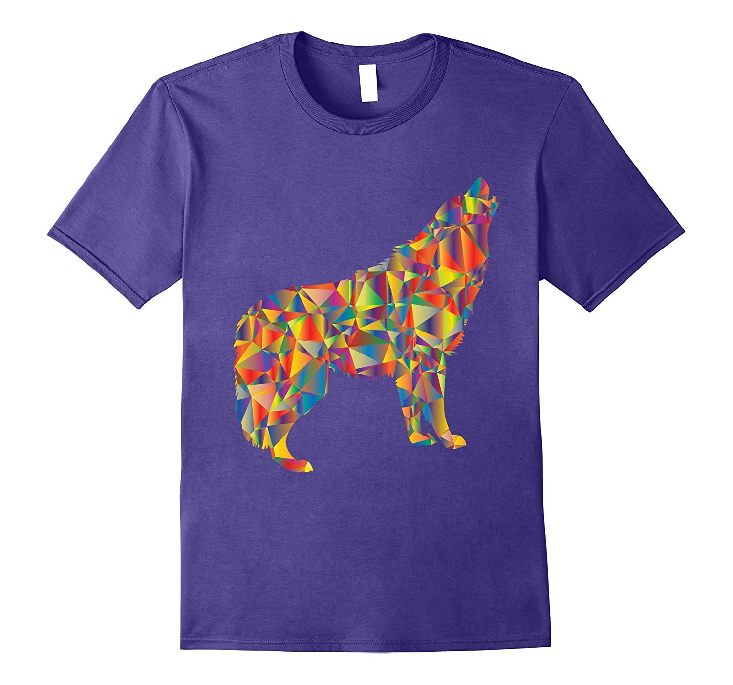 Colorful Wolf Howling Into The Night Sky Tshirt-FL