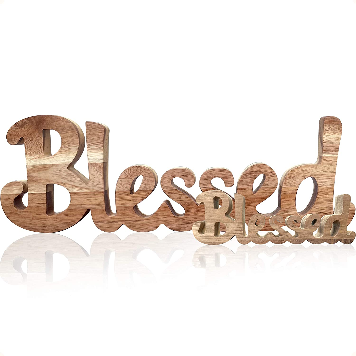 Blessed Signs For Home Decor Simply Cutout Blessed Sign Farmhouse Decorations | Farmhouse Table Decor | Shelf Decor Accents | Wall Art For Living Room Wall Decor | House Warming Presents For New Home