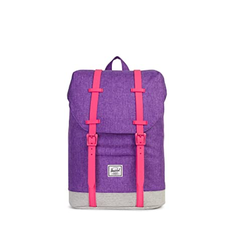 Mochila Herschel Retreat Youth Deep Lavender Crosshatch/Light Grey Crosshatch/Fandango Pink