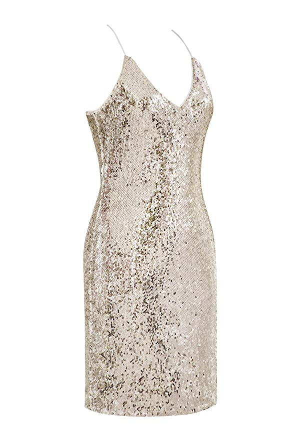 1960s Cocktail, Party, Prom, Evening Dresses Metme Sexy Gradient Sparkling Sequins Dress Halter Neck Strap Sleeveless Backless V Neck Club wear Body-con Party Mini Dress $32.99 AT vintagedancer.com