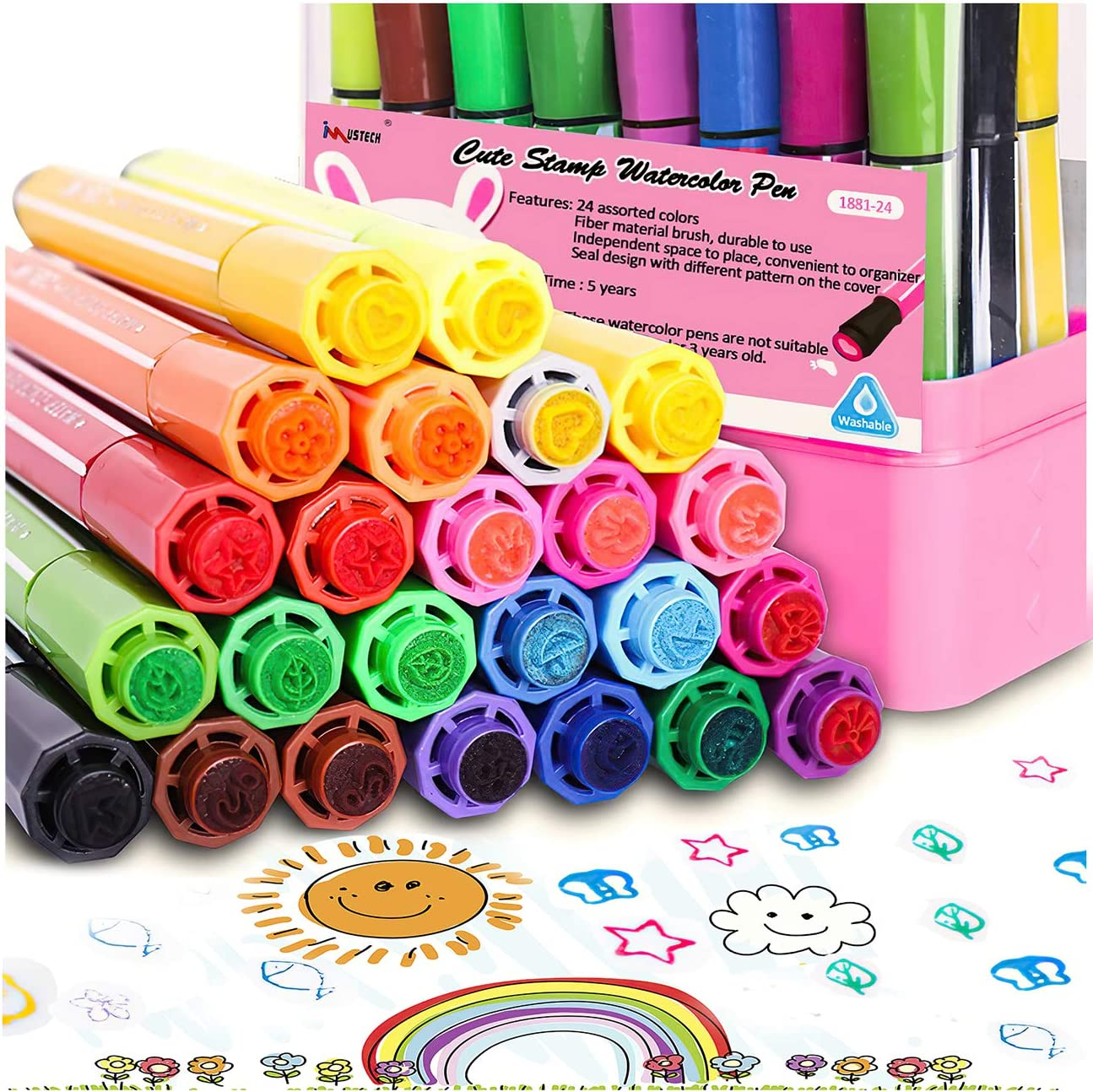 Amazon Com Watercolor Markers Paint Pens Markers Stamp Markers For Kids Non Toxic Stamp Markers Pens Set With Storage Case 24 Colors Coloring Markers For Toddlers Preschoolers Office Products
