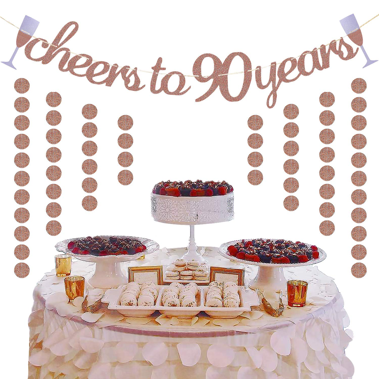 Extra Rose Gold Glittery Circle Dots Garland Partyprops ABCD Glittery Rose Gold Cheers to 90 Years Banner for 90th Birthday Wedding Anniversary Party Decorations Supplies