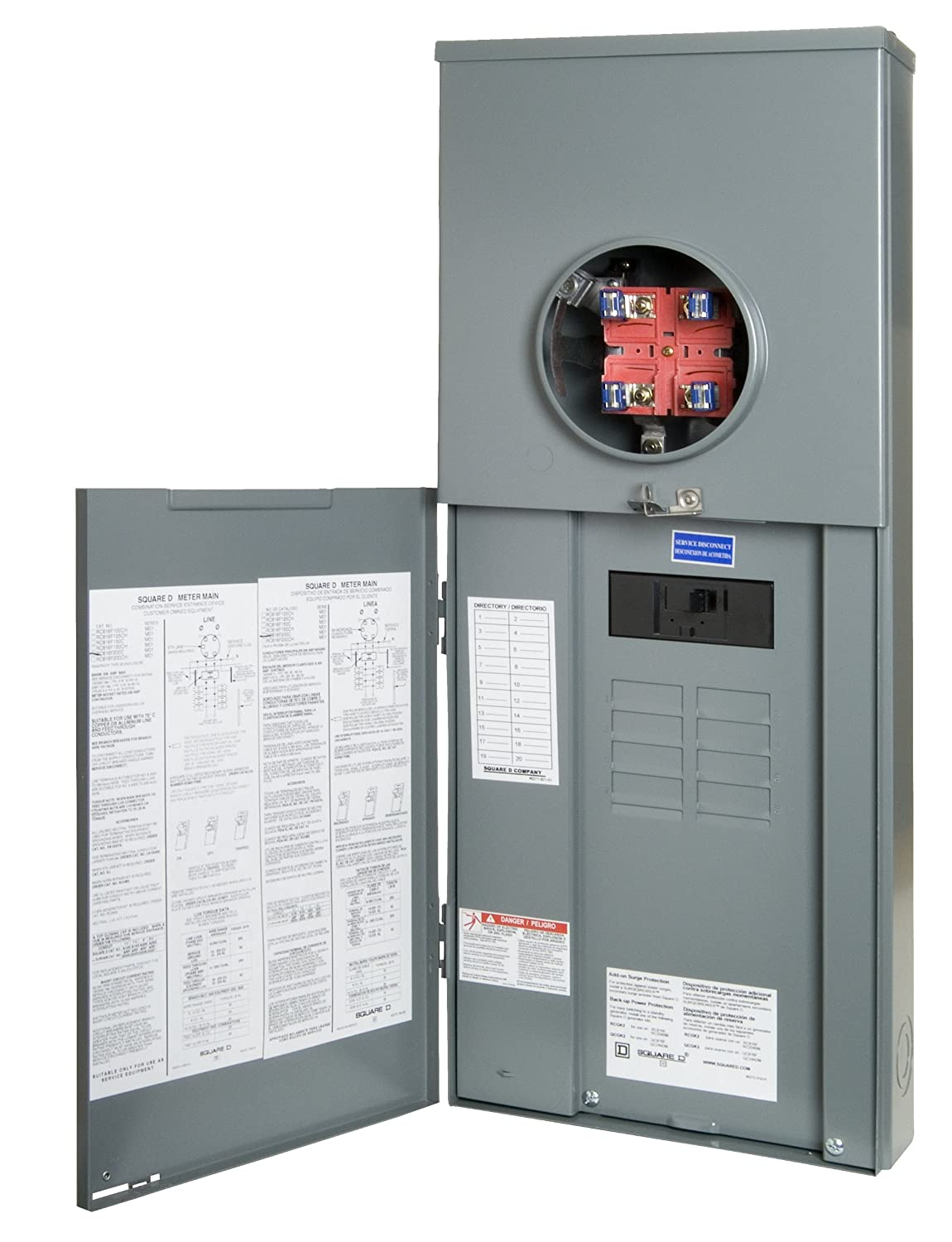 Square D By Schneider Electric Rc816f200c Homeline 200 Amp Main Two Pole 30 Circuit Breaker Hom230cp 8 Space 16 Outdoor Overhead Underground Csed Panels