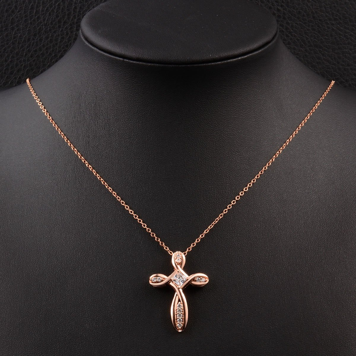 Rose Gold Cross Pendant Necklace for Women Infinity Zircon Crystal Jewelry