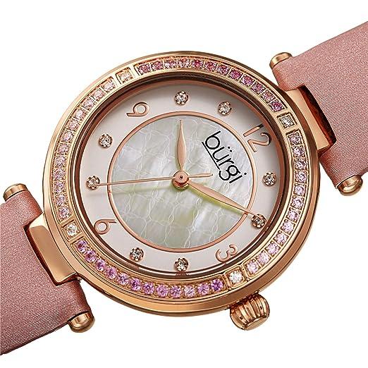 Burgi BUR251 Designer - Reloj de Pulsera para Mujer, Esfera de Cristal de Color, Correa de Piel auténtica Satinada, 8 marcadores de Diamantes Alrededor del ...