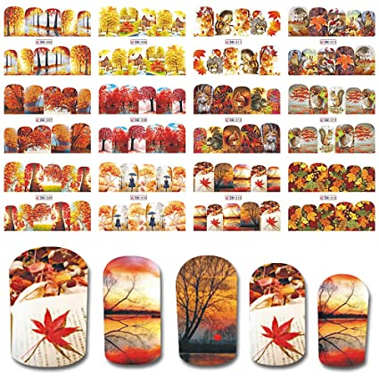 Amazon.com: Nail Wraps Full Cover Nail Art Water Sticker Autumn Design Tree Maple Leaves Girl Tip Decoration Manicure 12Pc: Beauty