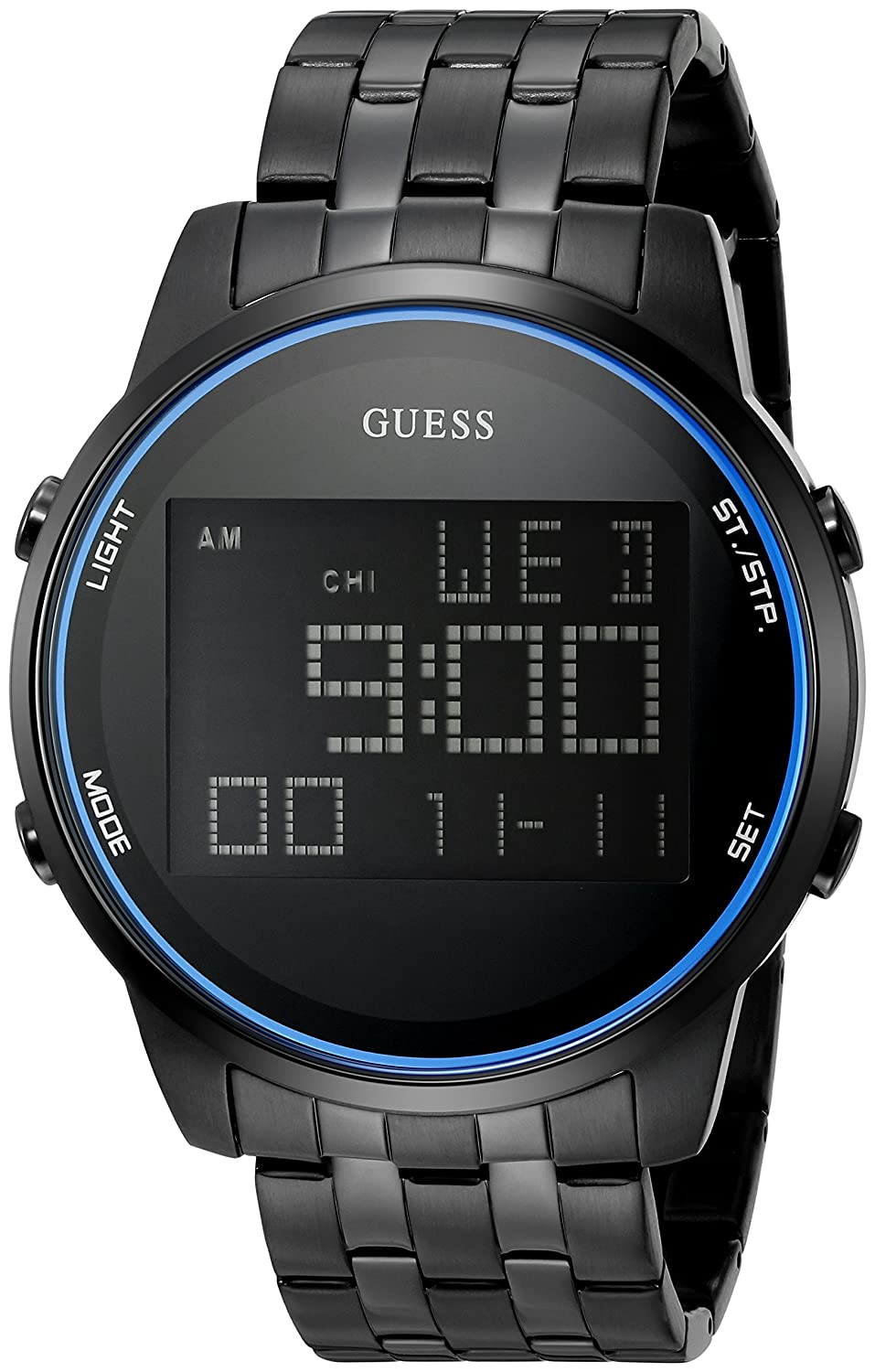 Amazon.com: GUESS Mens U0786G2 Trendy Black Stainless Steel Watch with Digital Dial and Black Pilot Buckle: Watches