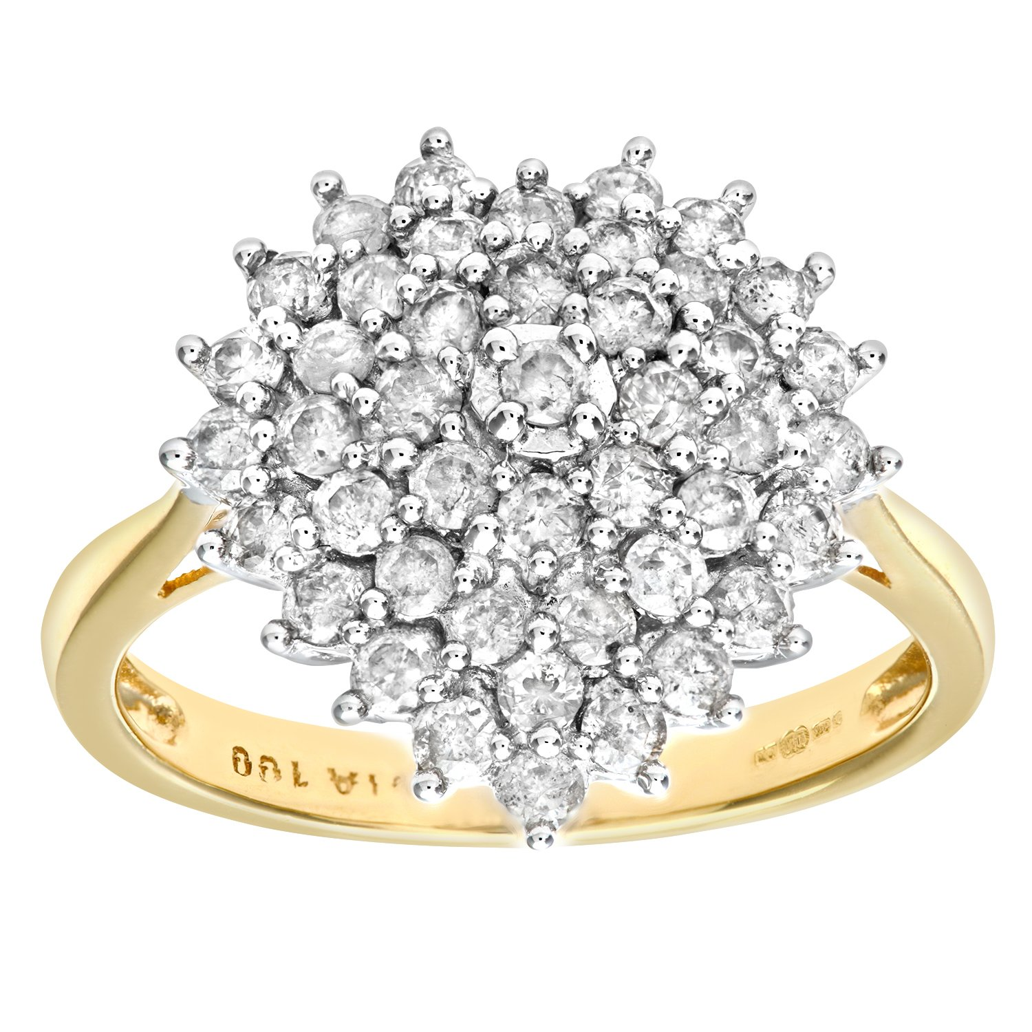 Naava 18ct Yellow Gold 1ct Heart Shaped Diamond Cluster Ring