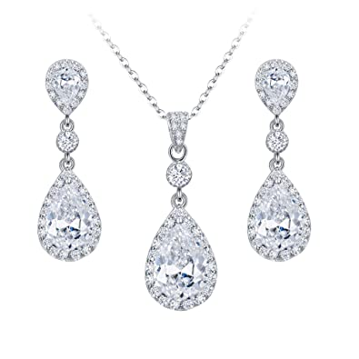 c68ded34a full set teardrop pendant. elequeen 925 sterling silver full cubic zirconia  teardrop bridal pendant necklace