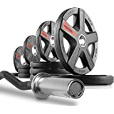 XMark Olympic EZ Curl Bar With Optional TEXAS STAR, SIGNATURE, or TRI-GRIP Olympic Plate Weight Sets, Use with Preacher Curl Bench, Utility or Dumbbell Benches, Bicep Curl and Triceps Extension
