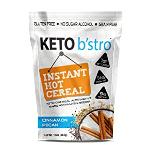 Keto B'stro - Instant Hot Cereal, Low Carb, Grain-Free Oatmeal Alternative, Coconut (Cinnamon Pecan, 10oz)