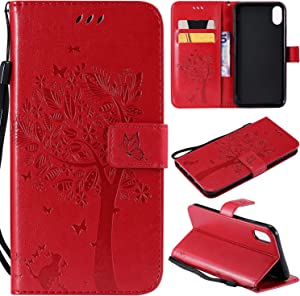 NOMO iPhone XR Case,iPhone XR Wallet Case,iPhone XR Flip Case PU Leather Emboss Tree Cat Flowers Folio Magnetic Kickstand Cover with Card Slots for Apple iPhone XR (6.1 inch) 2018 Release, Red