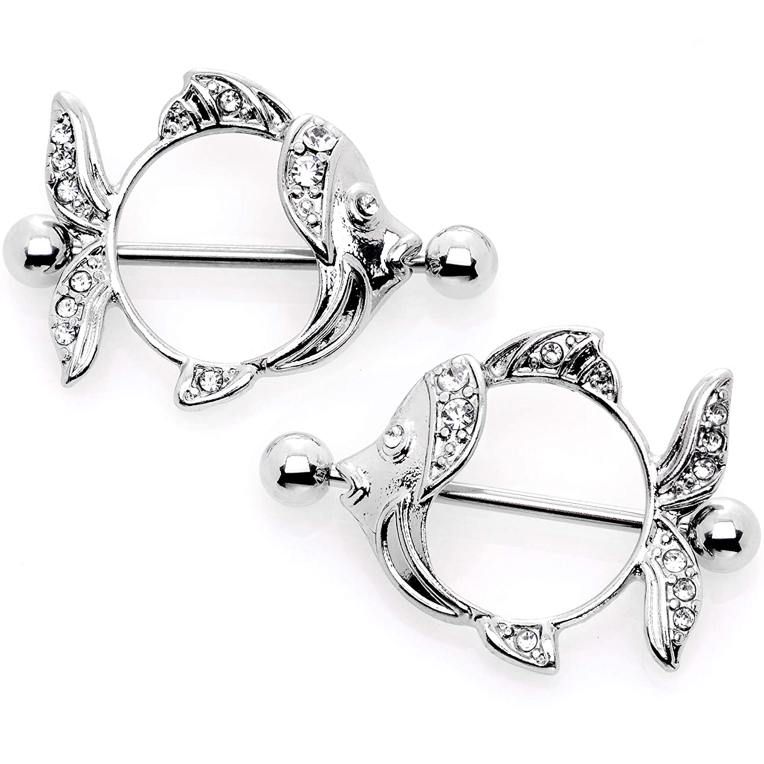 Body Candy 14G Womens Nipplerings Piercing 316L Stainless Steel 2Pc Clear Accent Fish Nipple Shield Set 14mm