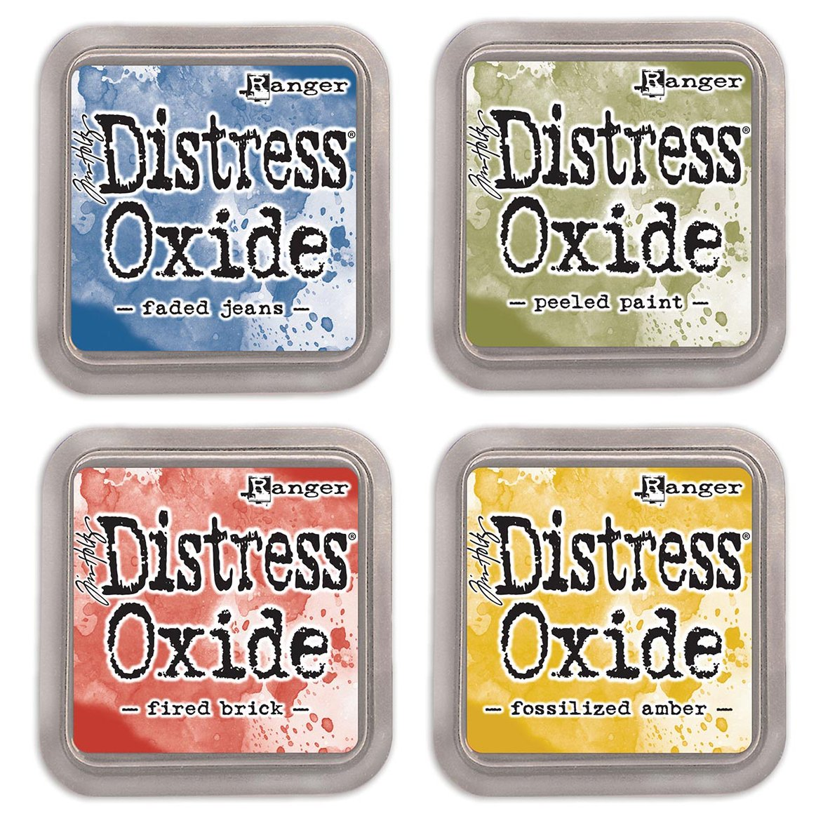 Ranger Tim Holtz Distress Oxide Bundle of 4 Ink Pads: Faded Jeans, Peeled Paint, Fired Brick, Fossilized Amber