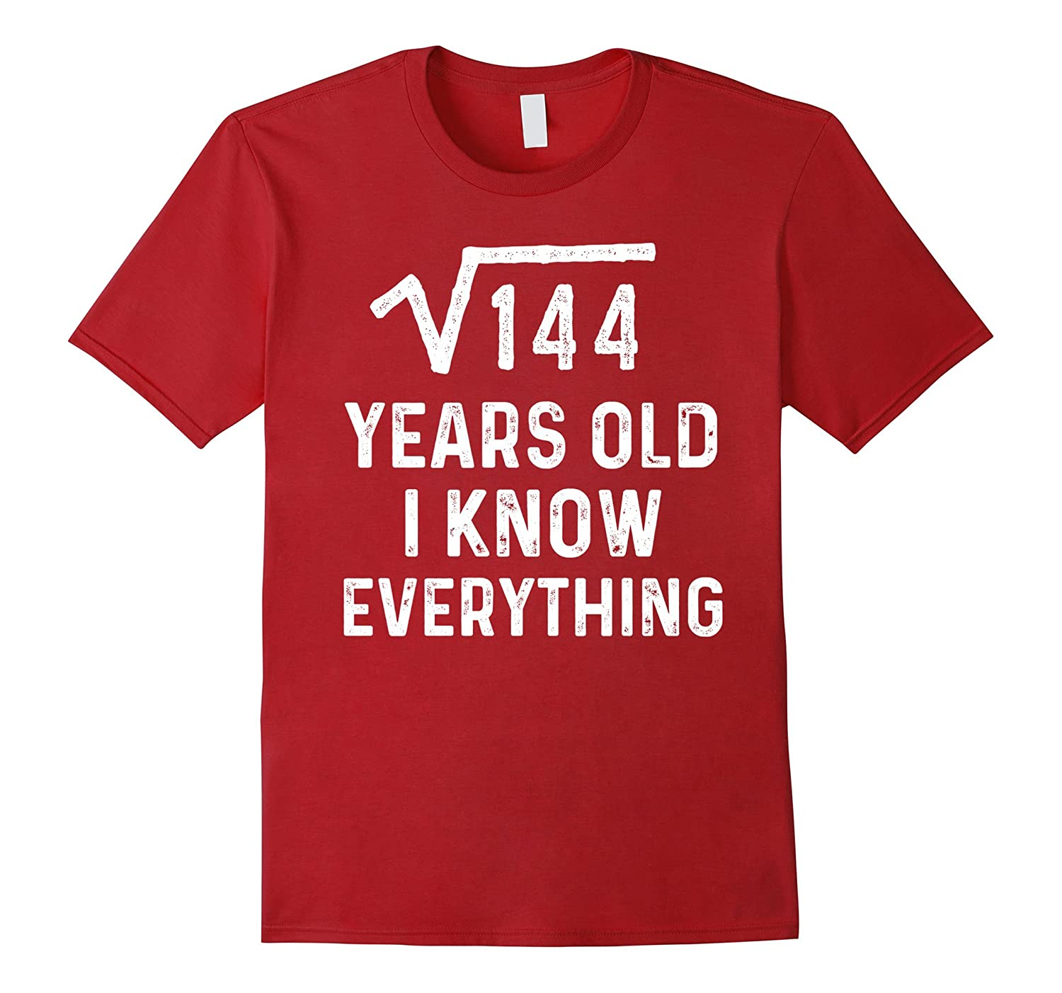 Square Root 12th Birthday Gift 12 Years Old Math Tshirt ANZ