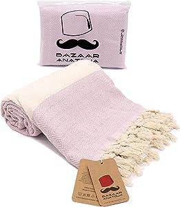 Bazaar Anatolia Diamond Turkish Towel 100% Cotton Peshtemal Bath Towel 77x38 Thin Lightweight Travel Camping Bath Sauna Beach Gym Pool Blanket Fouta Bridesmaid Gift Levander Quick Dry Towels (Lilac)