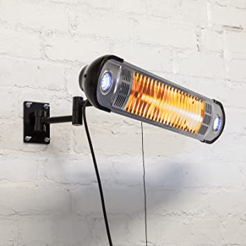 Great Wall Mounted Electric Outdoor Garden Patio Heater   1500W Halogen Heater,  LED Lights, Remote