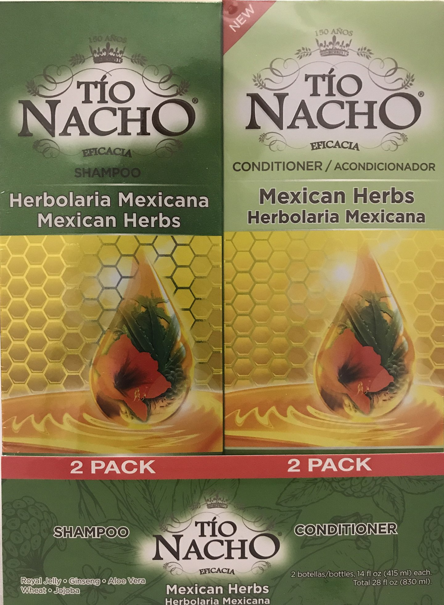 TIO NACHO Mexican Herbs Shampoo and Conditioner, Twin Pack (2 Pack 14 fl.