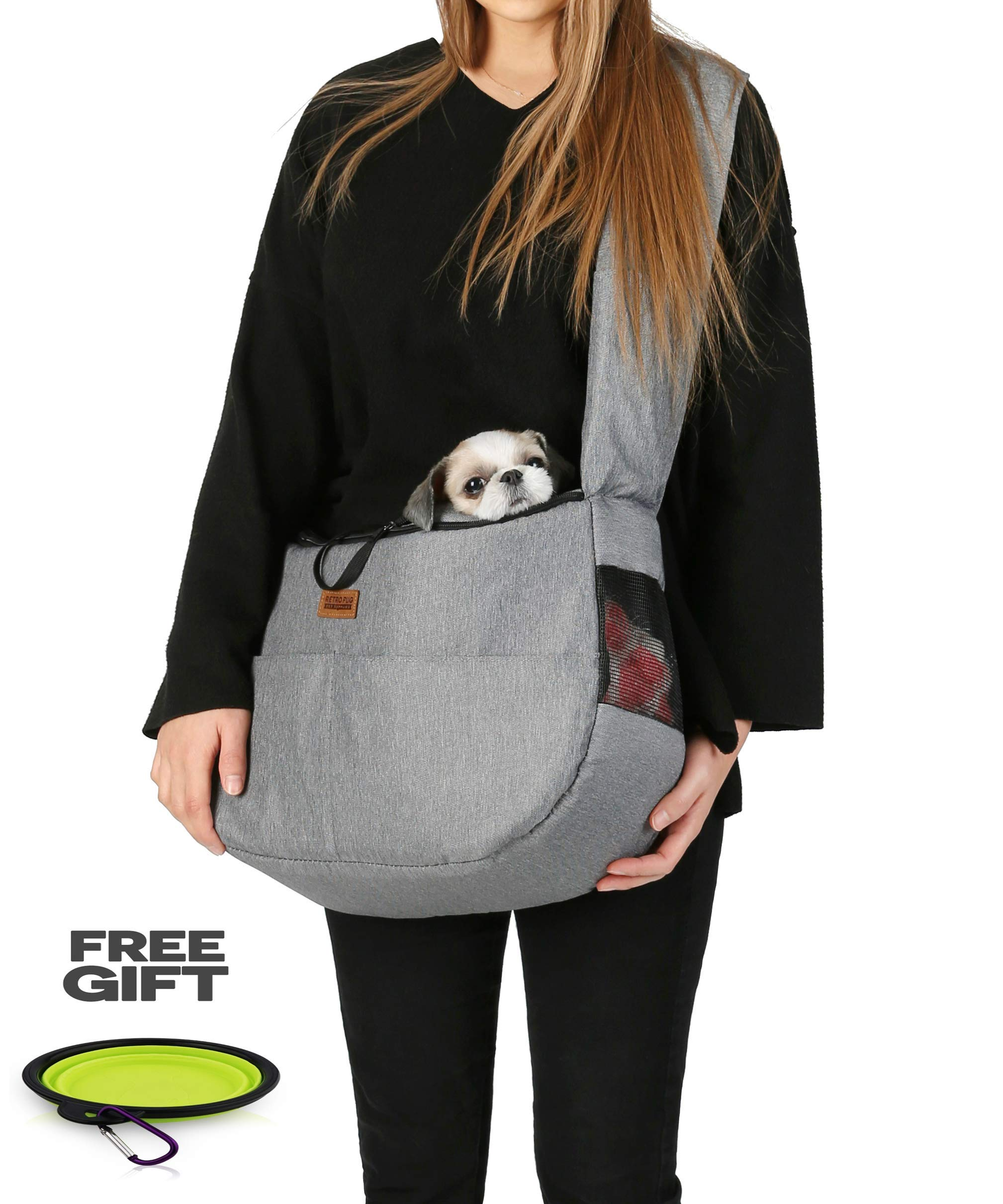 RETRO PUG Travel Mate Pet Carrier Sling Bag - Purse - Front Pack - Shoulder Strap Adjustable - Puppy Carrying Bag - Dog Carriers for Small and Medium Dogs,Cats - Free Silicone Bowl - Up to 10~15 lbs