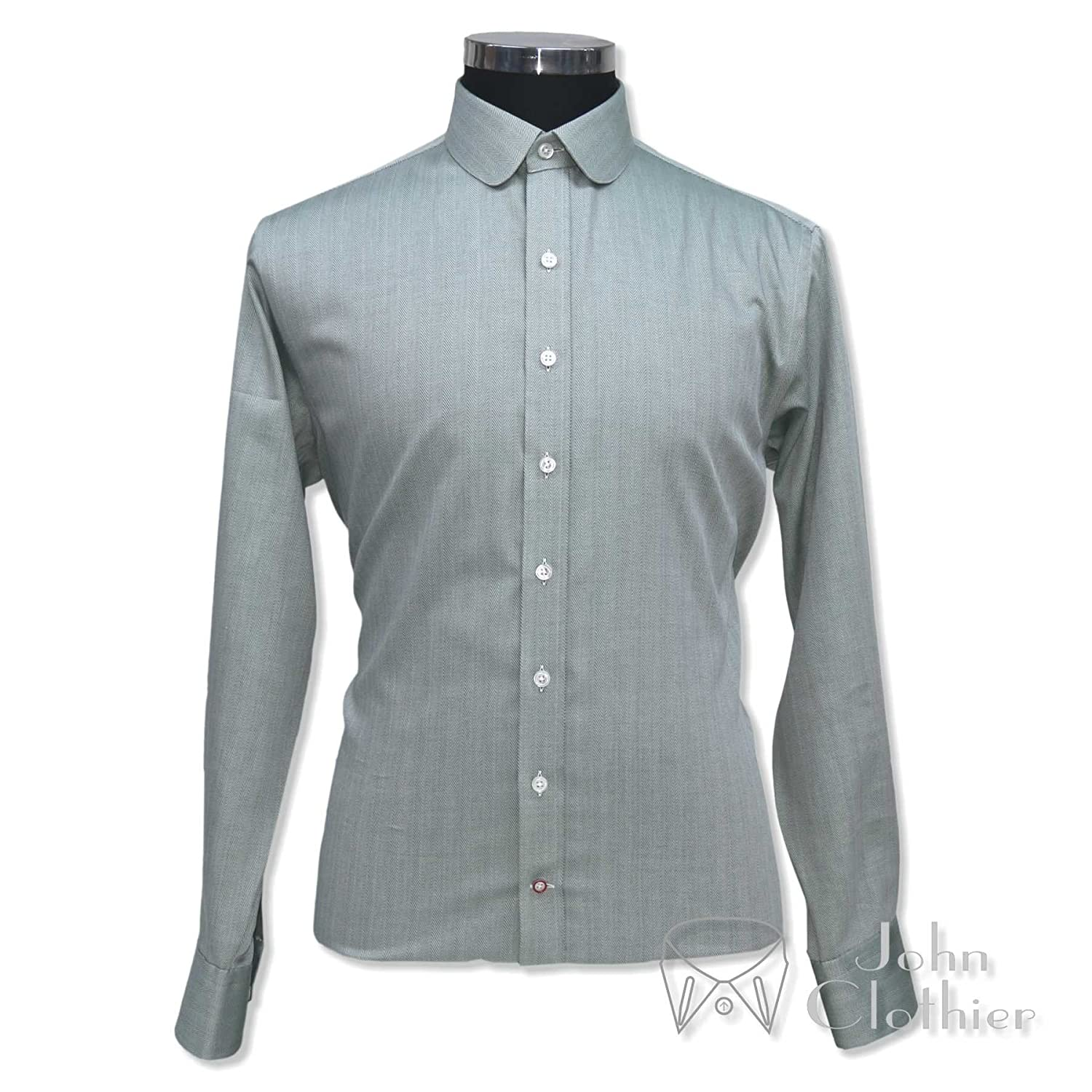 WhitePilotShirts Round Collar Mens Shirt Green Herringbone 100/% Cotton Penny Collar Peaky Blinders Gents 100-27