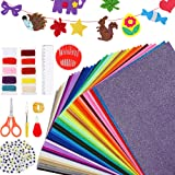 Caydo 42 Pieces Stiff Felt Fabric Sheets with Embroidery Sewing Kit, Adhesive Wiggle Eyes for Kids DIY Crafts and Decorative