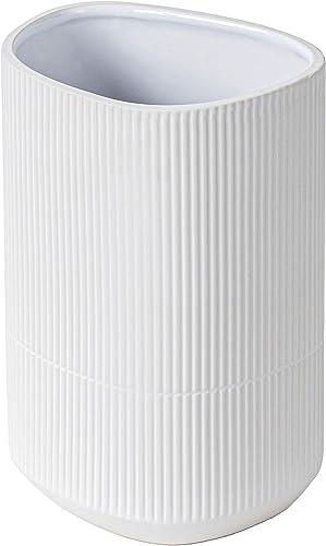 Hamilton Macphee Tonbridge 8.7 H White Textured Ceramic CORRU Tall Vase by European Designer Evelina Kudabait