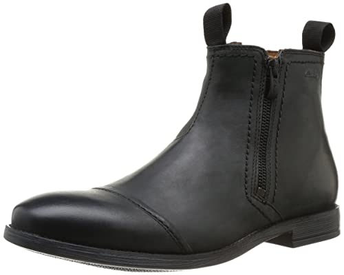 Clarks Novato Zip, Stivali bassi Uomo, Nero (Schwarz (Black Leather))
