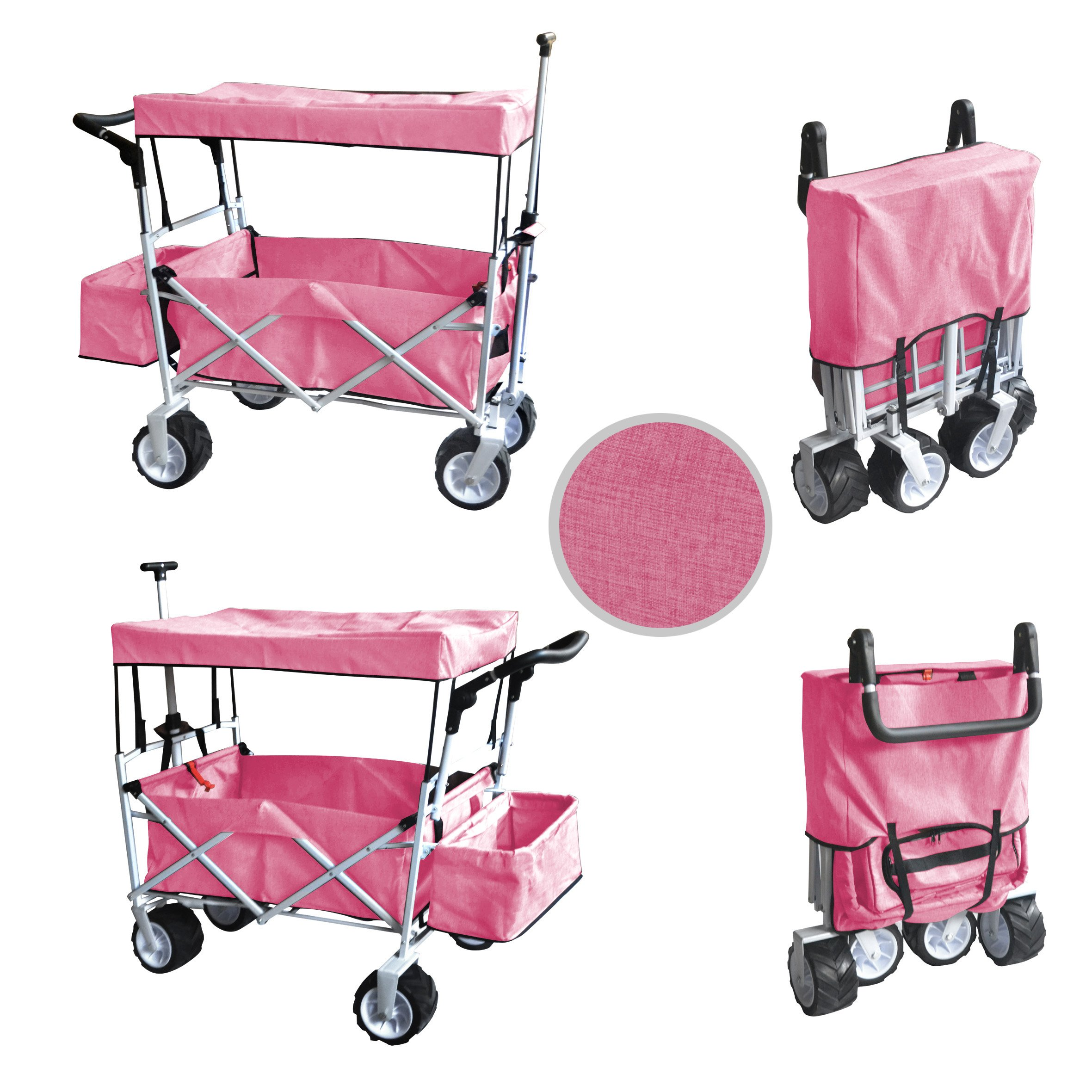 PINK JUMBO WHEEL PUSH AND PULL HANDLE FOLDING WAGON ALL PURPOSE GARDEN UTILITY BEACH SHOPPING TRAVEL CART OUTDOOR SPORT COLLAPSIBLE WITH CANOPY COVER FREE ICE COOLER BAG - EASY SETUP NO TOOL NECESSARY